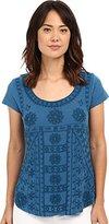Lucky Brand Women's Sleeveless Embroidered Shirt Tail Tee