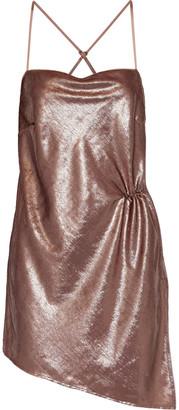 Mason by Michelle Mason Asymmetric Gathered Tinsel Mini Dress