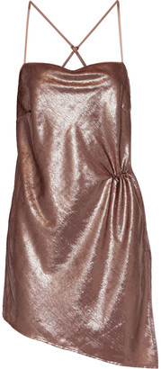 Mason by Michelle Mason Asymmetric Ruched Tinsel Mini Dress