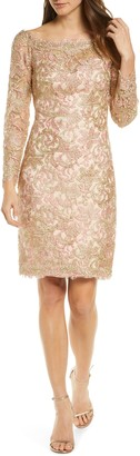 Tadashi Shoji Long Sleeve Embroidered Lace Cocktail Dress