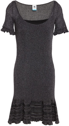M Missoni Ruffle-trimmed Metallic Ribbed-knit Mini Dress