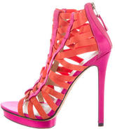 Brian Atwood Satin Cage Sandals