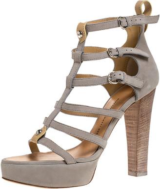 Giuseppe Zanotti Light Grey Suede Cage Open Toe Platform Sandals Size 40
