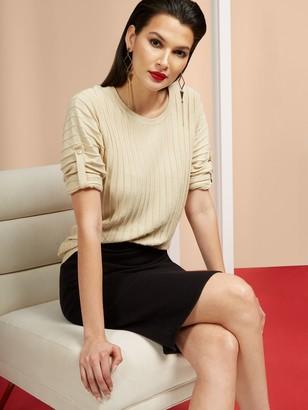 New York & Co. Textured Tab-Sleeve Dolman Sweater