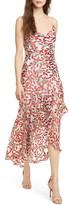 Alice + Olivia Ginger Leaf Print High/Low Silk Blend Dress