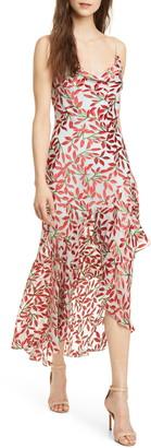 Alice + Olivia Ginger Leaf Print High/Low Silk Blend Dress