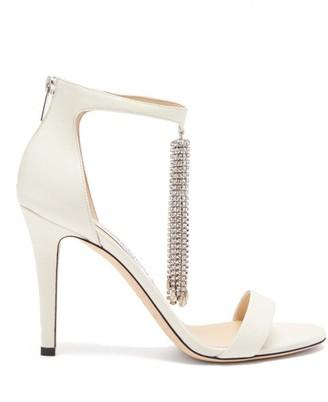 Jimmy Choo Viola 100 Crystal-tassel Leather Sandals - Cream