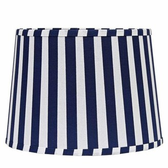 """Breakwater Bay 16"""" Cotton Drum Lamp Shade in White/Blue"""