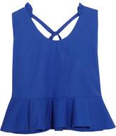 DELPOZO Ruffled Cotton-poplin Top - Royal blue