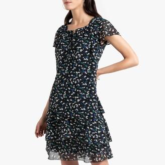 Anne Weyburn Floral Print Flared Dress in Crinkled Crepe