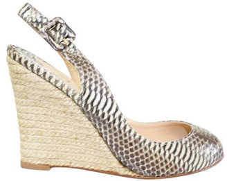Christian Louboutin Beige Snake Skin Slingback Wedge Sandals Size 37
