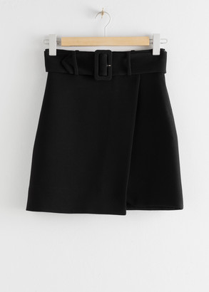 And other stories Belted Overlap Mini Skirt