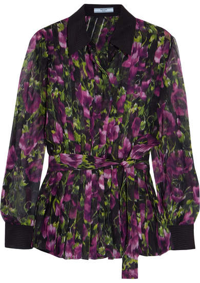Prada Pleated Floral-print Silk-crepon Blouse - Purple