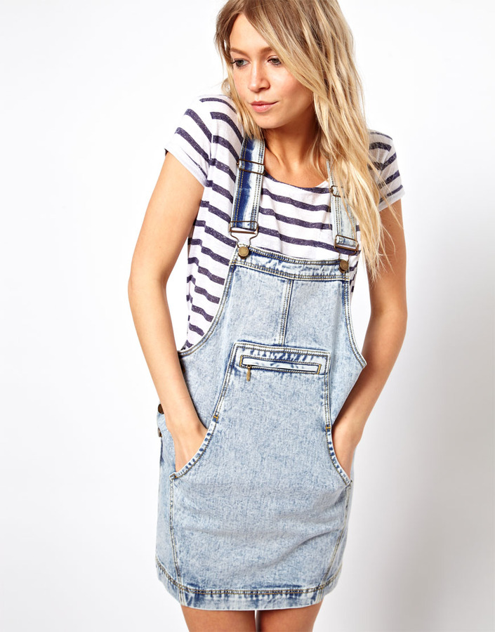 Asos Midweight Denim Dungaree Dress in Acid Wash