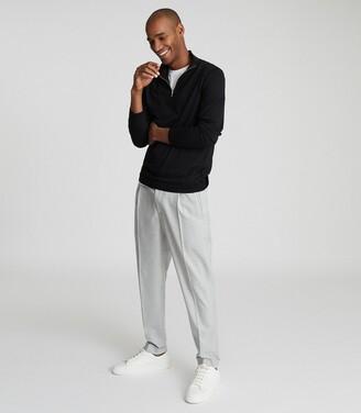 Reiss Berry - Self-start Rib-knit Jumper in Black