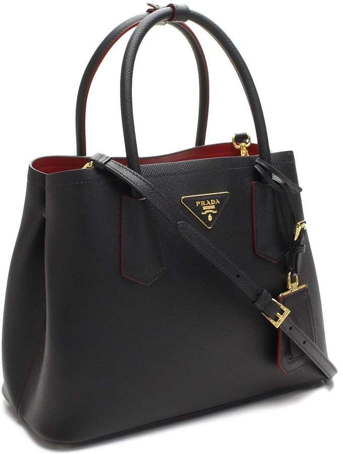 Prada Saffiano Nero/Fuoco Tote Bag