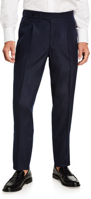 Ambrosi Napoli Men's Pleated-Front Classic Flannel Pants