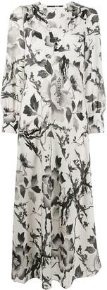 McQ Swallow Floral-Print Maxi Dress