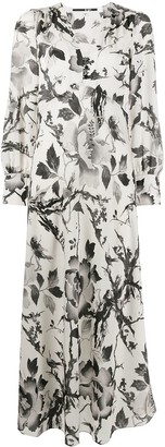 Mcq Swallow Floral-Print Maxi Dress