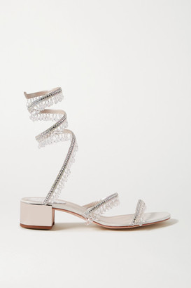 Rene Caovilla Cleo Embellished Satin And Metallic Leather Sandals - Silver