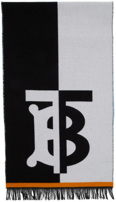 Burberry Blue and White Wool Football Scarf