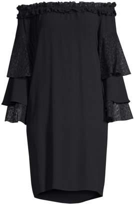 Michael Kors Off-The-Shoulder Lace Ruffle Sleeve Dress