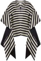 DELPOZO Collarless striped linen-blend faille coat