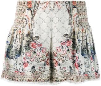 Camilla floral flared shorts