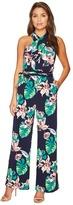 Tahari by Arthur S. Levine Petite Palm Print Jersey Jumpsuit Women's Jumpsuit & Rompers One Piece