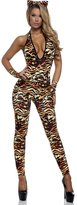 Forplay Women's Tantalizing Tigress Halter Catsuit with Gloves and Ears
