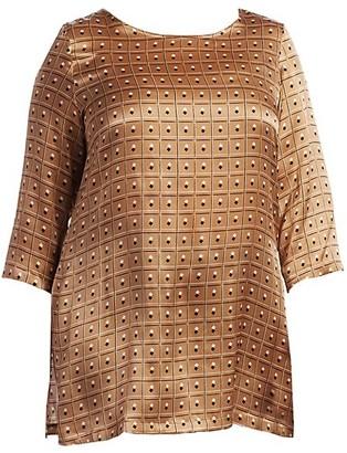 Marina Rinaldi, Plus Size Forte Satin Silk Print Tunic Top