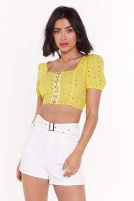 Nasty Gal Womens Hook After Yourself Broderie Anglaise Crop Top - white - 14