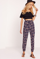 Missguided Paisley Print Joggers Navy