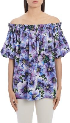 Dolce & Gabbana Floral Off the Shoulder Top