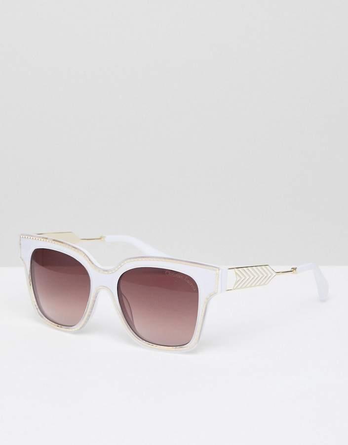 Christian Lacroix Christian La Croix Square Sunglasses In Cream