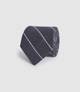 Reiss Bowmant - Cotton Wool Blend Striped Tie in Navy