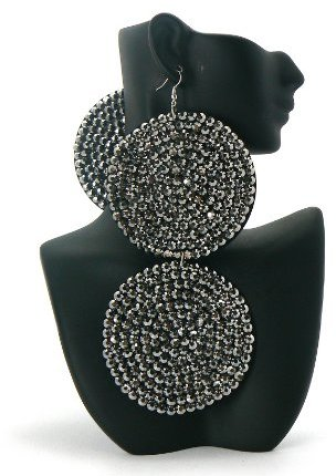 3 Pairs of Black Circle Poparazzi Iced Out Light Weight Basketball Wives Earrings Lady Gaga Paparazzi