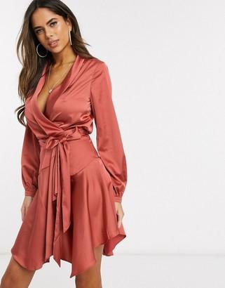 Club L midi satin wrap dress