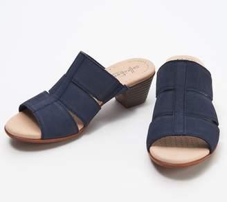 Clarks Collection Nubuck Heeled Slide Sandals - Valarie Model