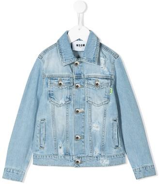 Msgm Kids Distressed Denim Jacket