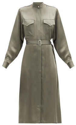 Officine Generale Bonnie Belted Satin Dress - Khaki