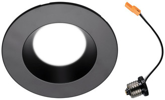 "NICOR Lighting 5/6"" Black 800 Lumen Recessed LED Downlight, 3000K (DLR565081203KBK)"