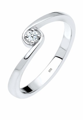 Diamore Women's 925 Sterling Silver 0.03 ct Diamond Solitaire Ring Size Q