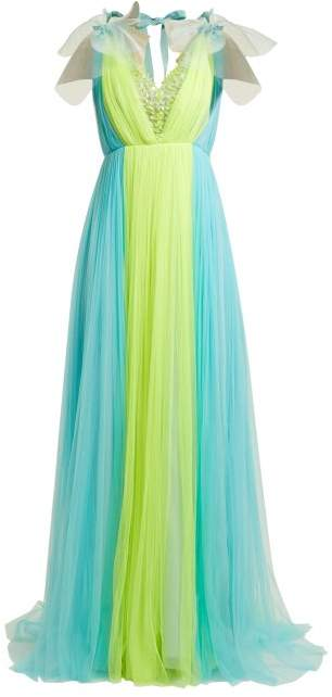 DELPOZO Contrast Panel Silk Blend Tulle Gown - Womens - Yellow Multi