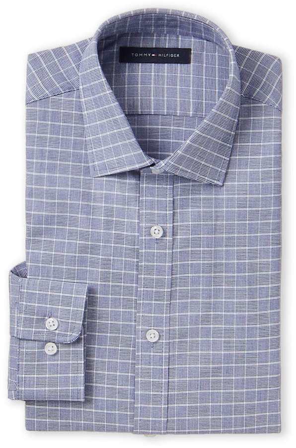 Tommy Hilfiger Slim Fit Stretch Windowpane Long Sleeve Dress Shirt