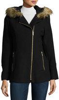 MICHAEL Michael Kors Faux-Fur Trim Asymmetric-Zip Coat, Black