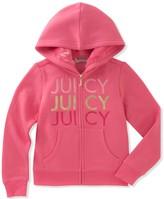 Juicy Couture Fleece Knit Print Crown Hoodie (Big Girls)
