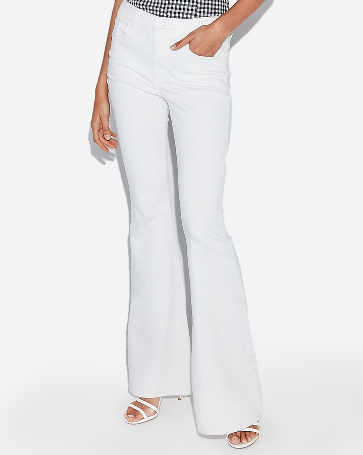 Express High Waisted White Bell Flare Jeans
