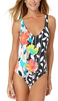 Anne Cole Women's Growing Floral Engineered Over the Shoulder One Piece Swimsuit