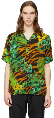 Versace Multicolor Tiger and Palm Short Sleeve Shirt